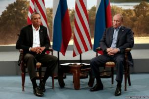 US President Barack Obama meets with Russian President Vladimir Putin during the G8 Summit