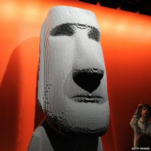 A giant face made of Lego
