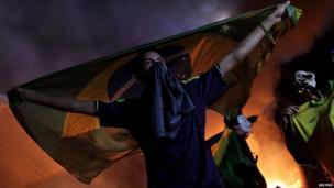 Demonstrators in front of the National Congress in Brasilia on 20 June 2013
