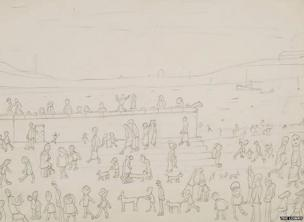 Group of Figures by the sea with dogs and steps by LS Lowry