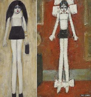 Girl in a mini-skirt and Girl in Bows in a Formal Interior by LS Lowry