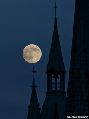 Supermoon in Erfurt, Germany