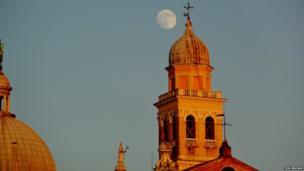 Jon Brown's photo shows the moon in Padua, Italy