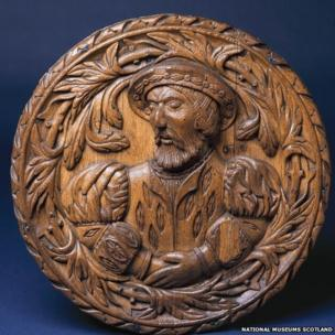 A large range of exhibits will tell the tale of Mary, Queen of Scots - including this carved oak head from the ceiling of the Royal Palace at Stirling Castle - possibly the King's Inner Hall - representing King James V, Mary's father.
