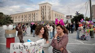 Celebrations in the centre of Rustavi, a Georgian town with high unemployment.