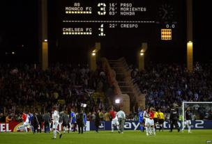 Players from Monaco and Chelsea at the end of their Champions League semi-final in 2004 in Monaco.