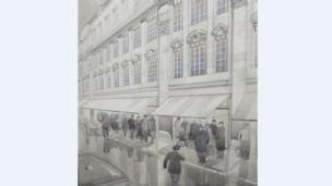 Artist's drawing is of the new store at 1-4 Broad Street that opened in 1929