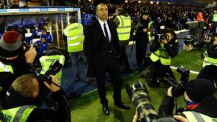 Chelsea's Italian caretaker manager Roberto Di Matteo arrives for an English FA Cup replay against Birmingham at St Andrew's on 6 March, 2012.