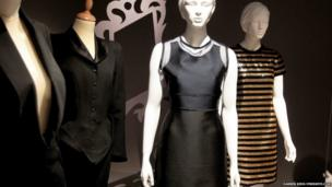 Pictured from left: An outfit by Alexander McQueen, the Mikado dress from Victoria Beckham's 2013 spring summer collection and a Moschino 2012 dress