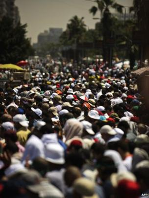 Thousands of Islamists and Muslim Brotherhood supporters attend the Friday prayers as they gather at Rabaa al-Adawiya mosque to start an open-ended sit-in (June 28, 2013)