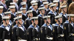 """Royal Naval service personnel gather for the Armed Forces"""" Day Parade in Portsmouth"""