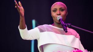 Laura Mvula performs on the Pyramid Stage.