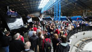 """Railway enthusiasts arrive at the """"Great Gathering"""" of the six remaining A4 class locomotives in York"""