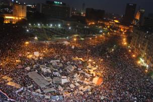 Thousands of people celebrating in Tahrir Square in Cairo.