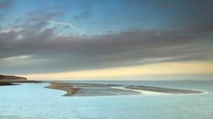 Sand spit revealed as the tide goes out at St Mary's Well Bay, Vale of Glamorgan by Callum Hamilton