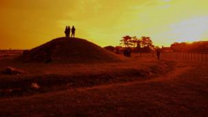 Summer solstice event at Bryn Celli Du neolithic chamber tomb arranged by CADW - photo by Catherine Rees and Matthew Jones