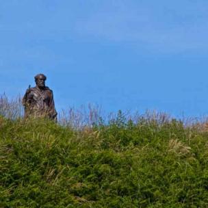 Alun Jones of Llanbadarn Fawr said he met this statue of St Caranog walking towards him through the grass as he walked the coastal path in Ceredigion