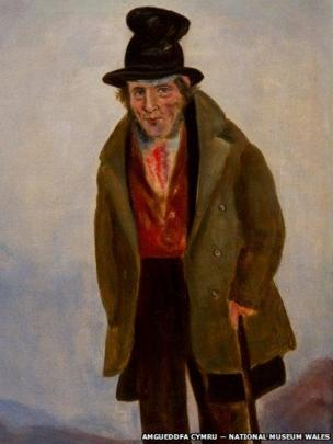 Detail of portrait of Thos Euston, Lodge Keeper, Hirwaun attributed to William Jones Chapman (?1808 – after 1871), on display at National Museum Cardiff, given by Miss Sylvia Crawshay, 2012