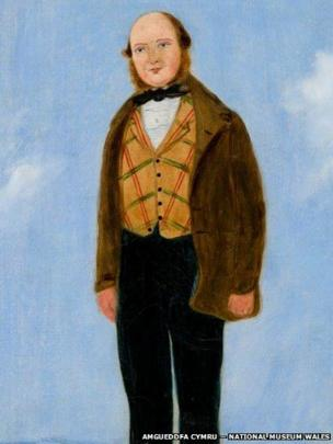 Detail of portrait of John Davies, Tin Mills Manager attributed to William Jones Chapman (?1808 – after 1871), on display at National Museum Cardiff, given by Miss Sylvia Crawshay, 2012