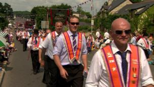 Hundreds of people lined the streets of Loughbrickland, County Down to watch the parades