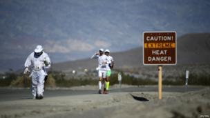 Runners in Badwater Ultramarathon in Death Valley