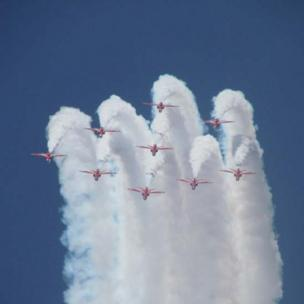 The Red Arrows as seen from a back garden in Rhoose, Vale of Glamorgan