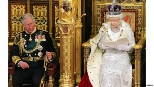 Queen and Prince Charles at the State Opening of Parliament.