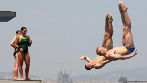Diving competitors in Barcelona