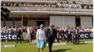 The Queen walks onto the field at Lord's Cricket Ground