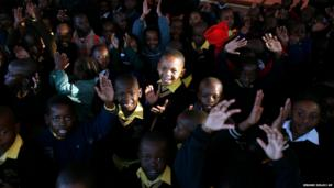Students at the Denver Primary School in Johannesburg, South Africa