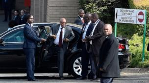 South African President Jacob Zuma arrives at Nelson Mandela's hospital, Pretoria (18 July)