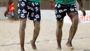Two Nigeri beach volleyball players in Porto, Portugal - Friday 12 July 2013