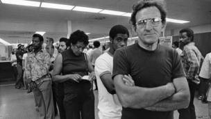 Unemployed autoworkers queuing at an unemployment office in Detroit, Michigan. Undated pic