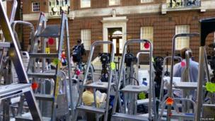 Ladders outside St Mary's Hospital. Photo: Stellio Bove