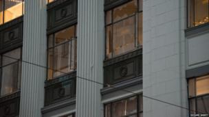 Broken windows in Lambton Quay in Wellington, New Zealand