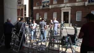 Press outside the Lindo Wing, Paddington, London