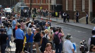 Journalists and TV crews outside St Mary's hospital
