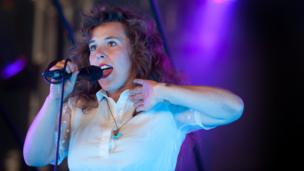 Megan James of Purity Ring performs at Lovebox festival at Victoria Park on July 19, 2013 in London, England.