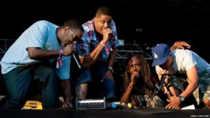 Jurassic 5 perform at Lovebox festival at Victoria Park on July 19, 2013 in London, England.