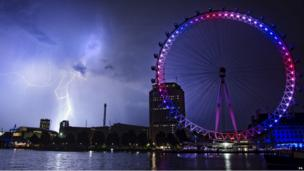 The London Eye lit up in red, white and blue
