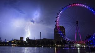 Lightning behind the London Eye