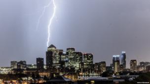 Fork lightening over Canary Wharf, London, UK Photo: Nick Struggles