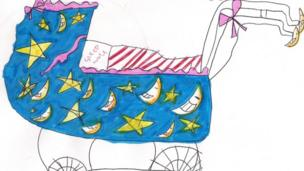 Buggy design decorated with moons and stars