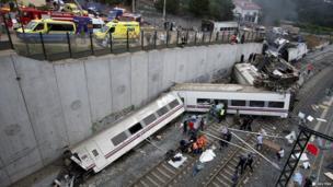 Wreckage of derailed train near Santiago de Compostela