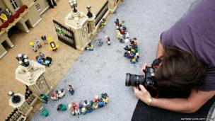 A photographer captures a new attraction created to commemorate the birth of His Royal Highness Prince George of Cambridge at Legoland in Windsor