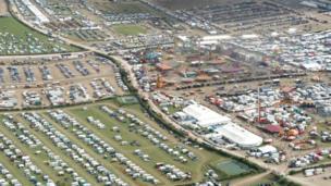 Aerial shot of Great Dorset Steam Fair