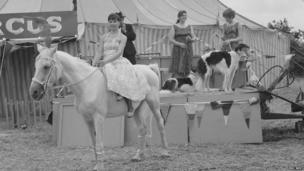 Lady on horse at the 1968 Great Dorset Steam Fair