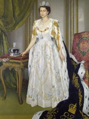 Queen's Coronation portrait by Sir Herbert James Gunn