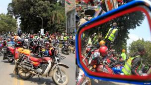A large group of motorcyclists in Kenya's capital, Nairobi, protest about harassment by traffic inspectors - Friday 19 July 2013