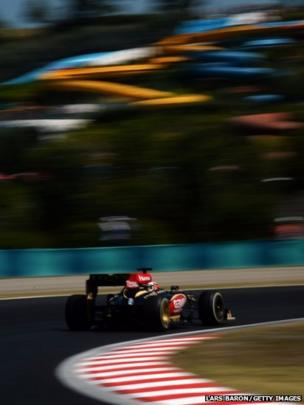 Kimi Raikkonen driving at the Hungarian Formula 1 Grand Prix at the Hungaroring in Budapest